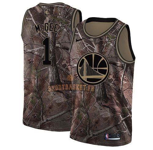 Nouveau Maillot NBA Golden State Warriors NO.1 JaVale McGee Camo Swingman Collection Realtree 2018 pas cher