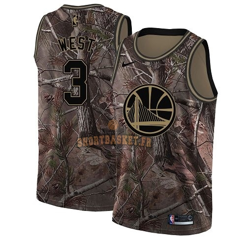 Nouveau Maillot NBA Golden State Warriors NO.3 David West Camo Swingman Collection Realtree 2018 pas cher