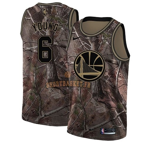 Nouveau Maillot NBA Golden State Warriors NO.6 Nick Young Camo Swingman Collection Realtree 2018 pas cher