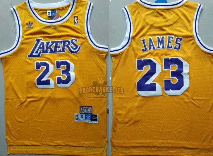 Nouveau Maillot NBA Los Angeles Lakers NO.23 Lebron James Retro Jaune pas cher