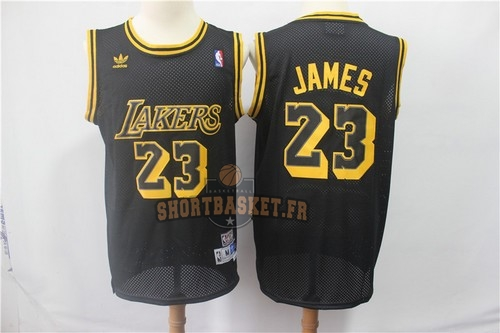 Nouveau Maillot NBA Los Angeles Lakers NO.23 Lebron James Retro Noir pas cher