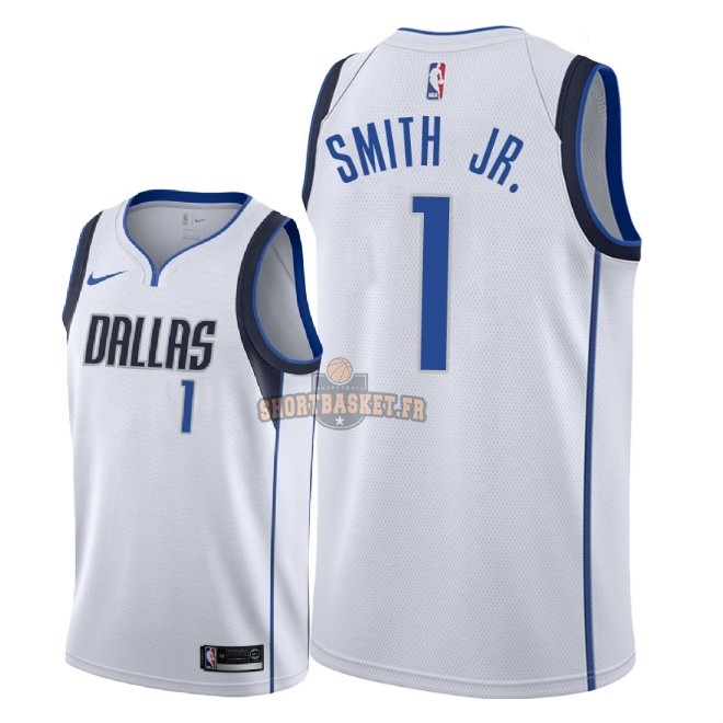 Nouveau Maillot NBA Nike Dallas Mavericks NO.1 Dennis Smith Jr Blanc Association 2018 pas cher