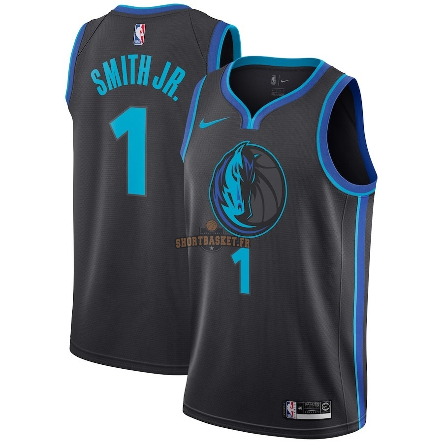 Nouveau Maillot NBA Nike Dallas Mavericks NO.1 Dennis Smith Jr Nike Anthracite Ville 2018-19 pas cher