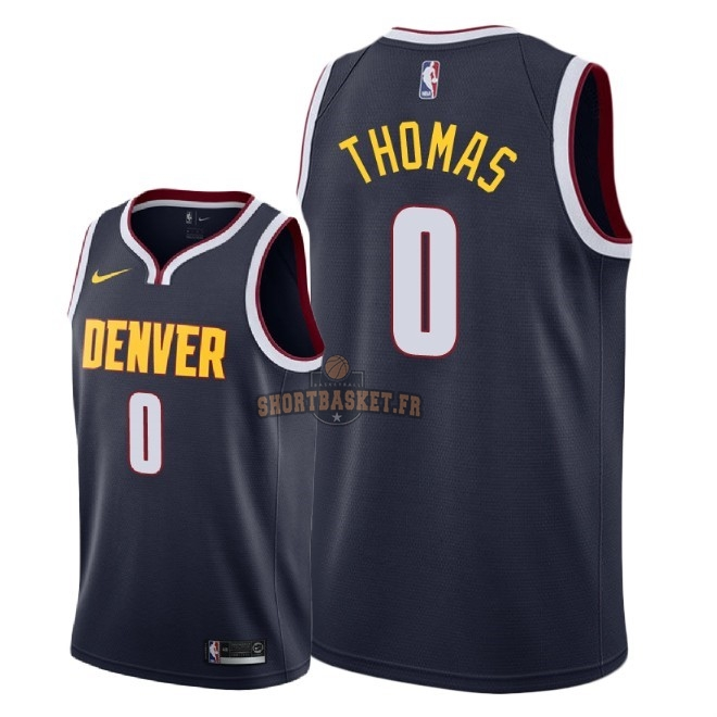 Nouveau Maillot NBA Nike Denver Nuggets NO.0 Isaiah Thomas Marine Icon 2018-19 pas cher