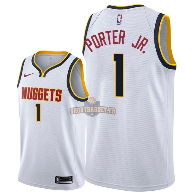 Nouveau Maillot NBA Nike Denver Nuggets NO.1 Michael Porter Jr Blanc Association 2018-19 pas cher