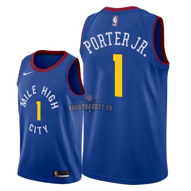 Nouveau Maillot NBA Nike Denver Nuggets NO.1 Michael Porter Jr Bleu Statement 2018-19 pas cher