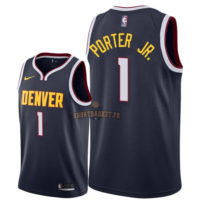 Nouveau Maillot NBA Nike Denver Nuggets NO.1 Michael Porter Jr Marine Icon 2018-19 pas cher