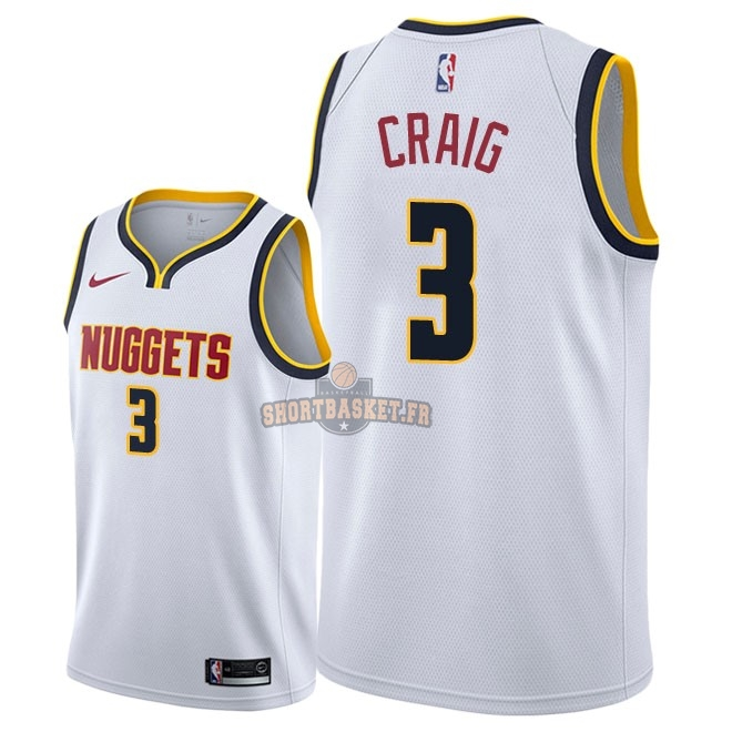 Nouveau Maillot NBA Nike Denver Nuggets NO.3 Torrey Craig Blanc Association 2018-19 pas cher