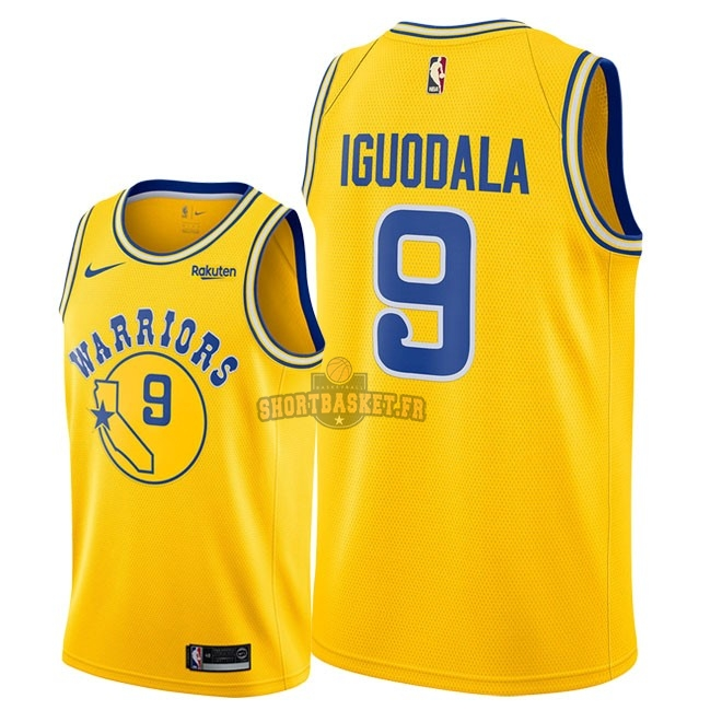 Nouveau Maillot NBA Nike Golden State Warriors NO.9 Andre Iguodala Retro Jaune 2018-19 pas cher