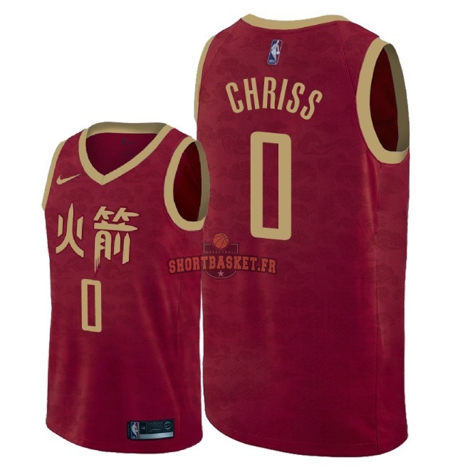 Nouveau Maillot NBA Nike Houston Rockets NO.0 Marquese Chriss Nike Rouge Ville 2018-19 pas cher