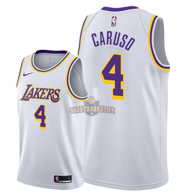 Nouveau Maillot NBA Nike Los Angeles Lakers NO.4 Alex Caruso Blanc Association 2018-19 pas cher
