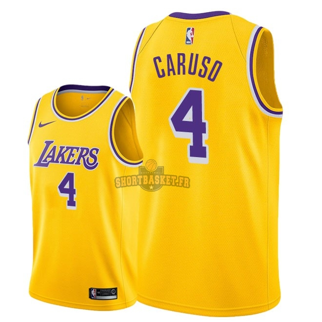 Nouveau Maillot NBA Nike Los Angeles Lakers NO.4 Alex Caruso Jaune Icon 2018-19 pas cher