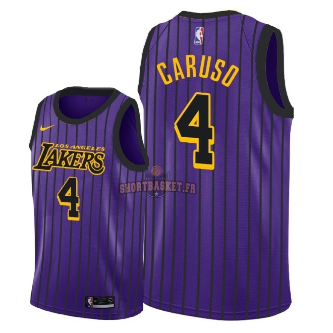 Nouveau Maillot NBA Nike Los Angeles Lakers NO.4 Alex Caruso Nike Pourpre Ville 2018-19 pas cher