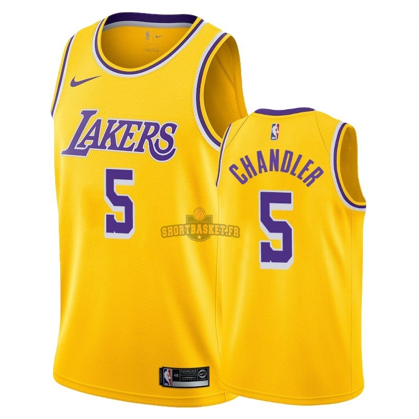 Nouveau Maillot NBA Nike Los Angeles Lakers NO.5 Tyson Chandler Jaune Icon 2018 pas cher