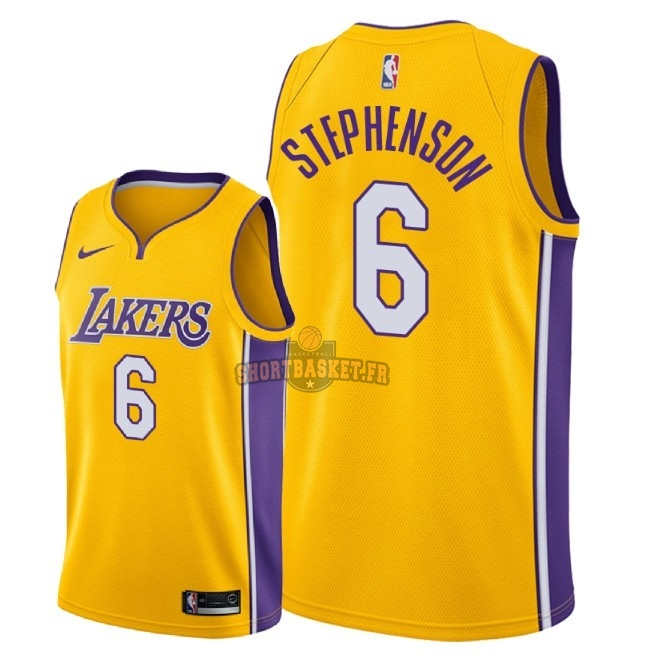 Nouveau Maillot NBA Nike Los Angeles Lakers NO.6 Lance Stephenson Jaune Icon 2018 pas cher