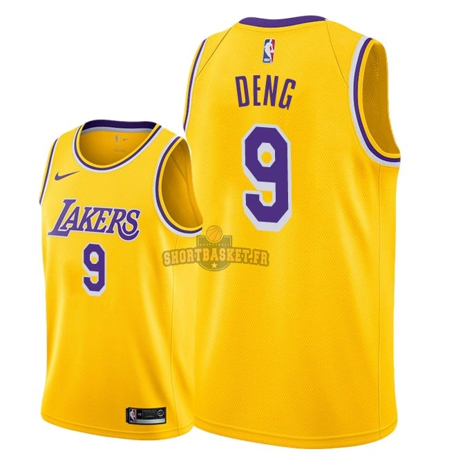 Nouveau Maillot NBA Nike Los Angeles Lakers NO.9 Luol Deng Jaune Icon 2018-19 pas cher