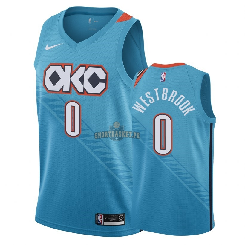 Nouveau Maillot NBA Nike Oklahoma City Thunder NO.0 Russell Westbrook Nike Turquoise Ville 2018-19 pas cher