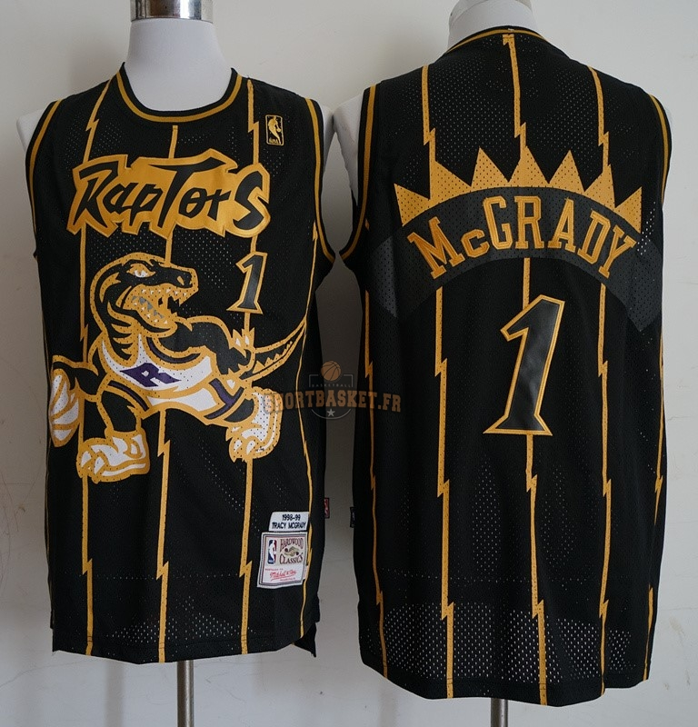 Nouveau Maillot NBA Toronto Raptors NO.1 Tracy McGrady Retro Or Noir 1998-99 pas cher