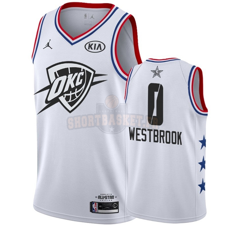 Nouveau Maillot NBA 2019 All Star NO.0 Russell Westbrook Blanc pas cher
