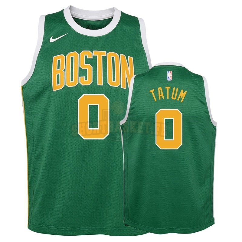 Nouveau Maillot NBA Enfant Earned Edition Boston Celtics NO.0 Jayson Tatum Vert 2018-19 pas cher