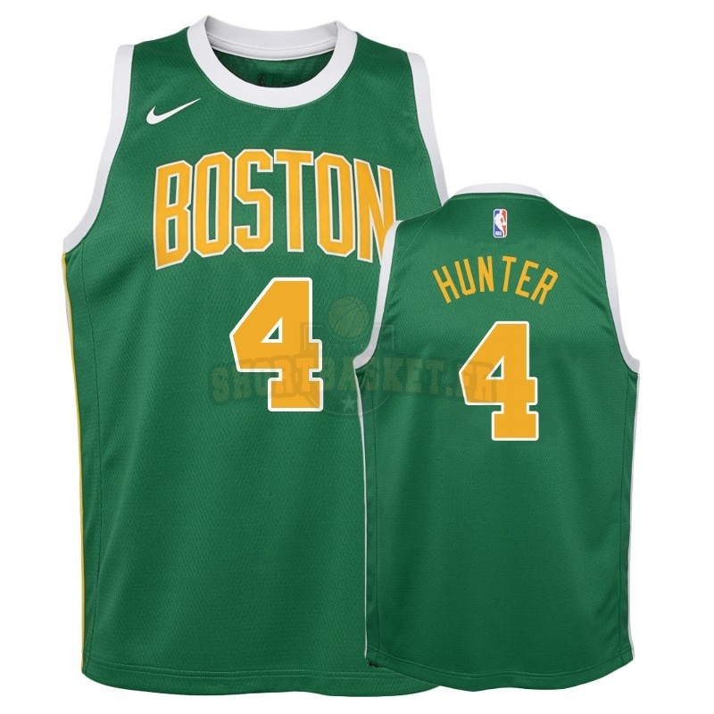 Nouveau Maillot NBA Enfant Earned Edition Boston Celtics NO.4 R.J. Hunter Vert 2018-19 pas cher