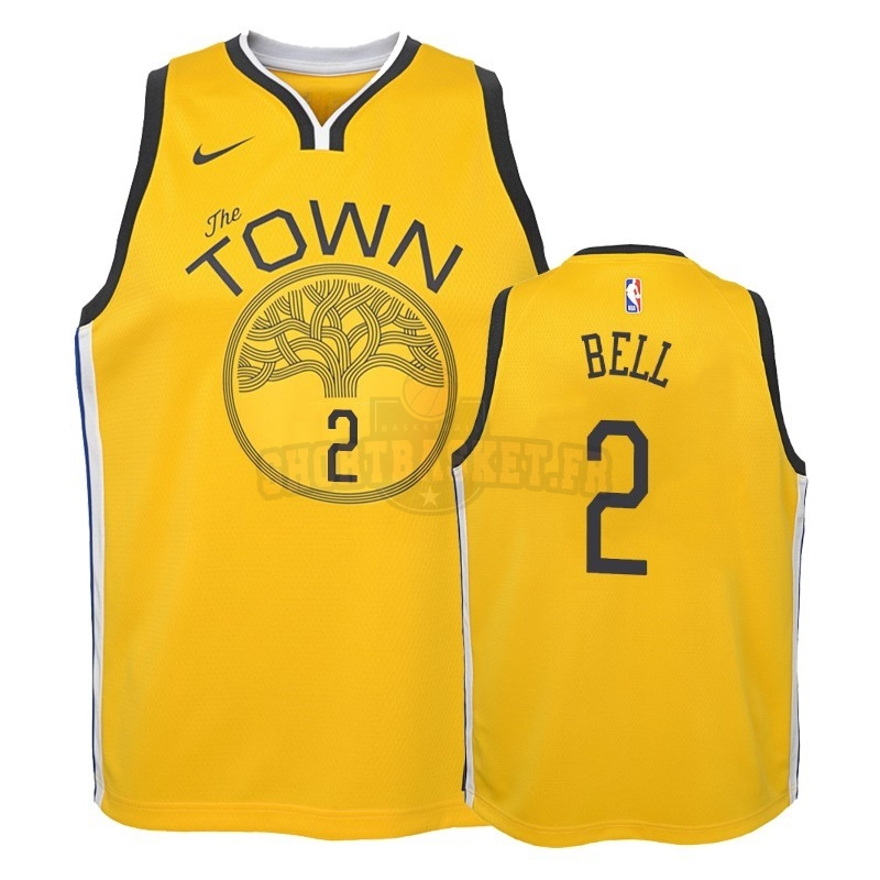 Nouveau Maillot NBA Enfant Earned Edition Golden State Warriors NO.2 Jordan Bell Jaune 2018-19 pas cher