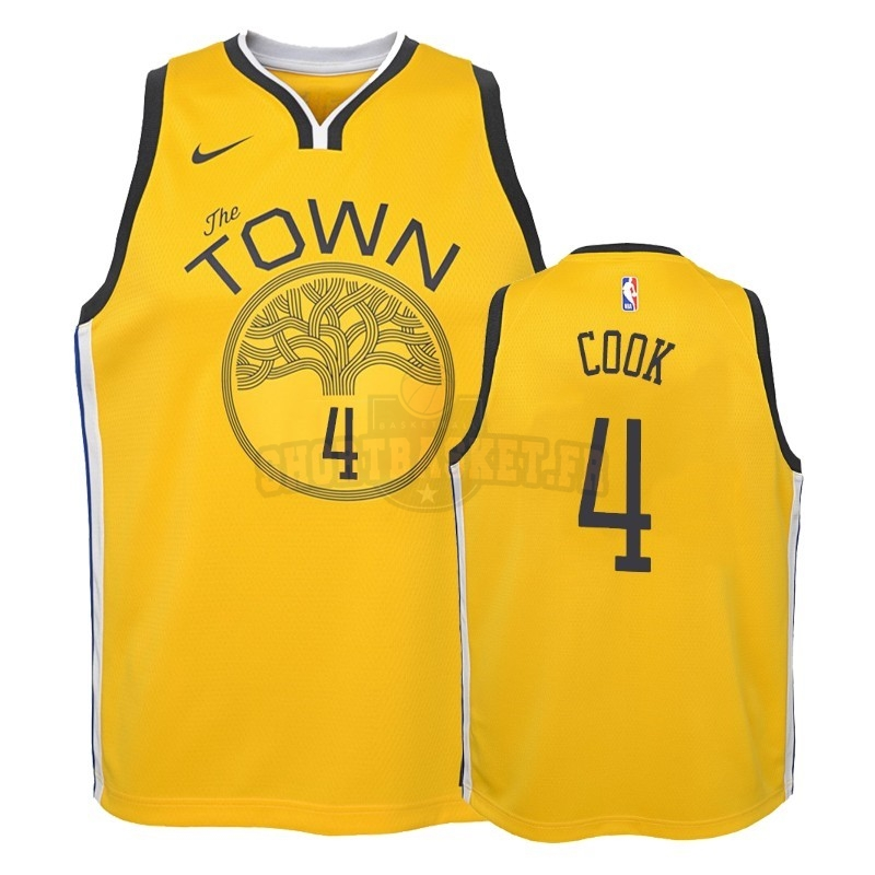 Nouveau Maillot NBA Enfant Earned Edition Golden State Warriors NO.4 Quinn Cook Jaune 2018-19 pas cher
