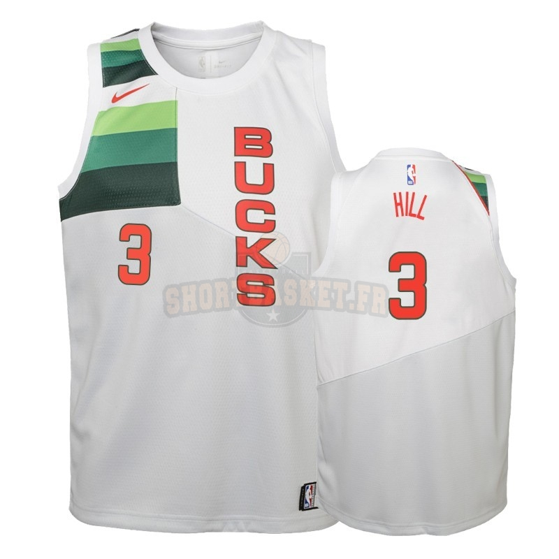 Nouveau Maillot NBA Enfant Earned Edition Milwaukee Bucks NO.3 George Hill Blanc 2018-19 pas cher