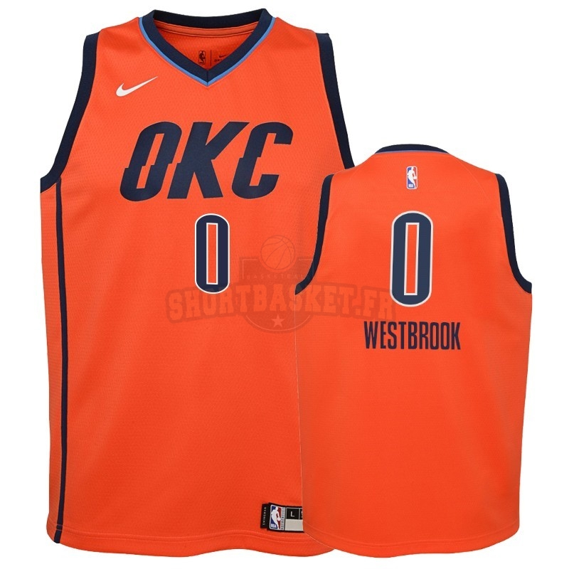Nouveau Maillot NBA Enfant Earned Edition Oklahoma City Thunder NO.0 Russell Westbrook Orange 2018-19 pas cher
