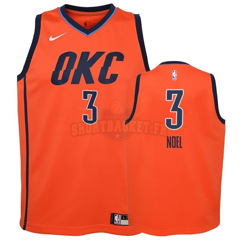 Nouveau Maillot NBA Enfant Earned Edition Oklahoma City Thunder NO.3 Nerlens Noel Orange 2018-19 pas cher