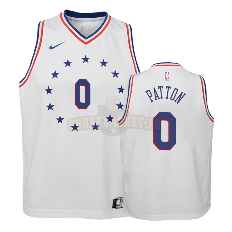Nouveau Maillot NBA Enfant Earned Edition Philadelphia Sixers NO.0 Justin Patton Blanc 2018-19 pas cher