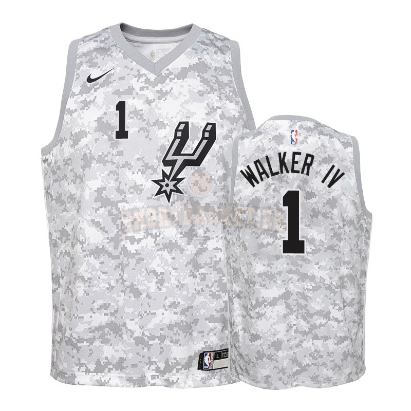 Nouveau Maillot NBA Enfant Earned Edition San Antonio Spurs NO.1 Lonnie Walker Gris 2018-19 pas cher