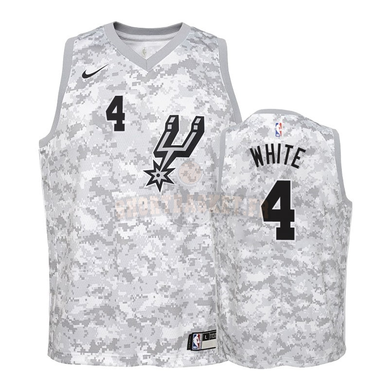 Nouveau Maillot NBA Enfant Earned Edition San Antonio Spurs NO.4 Derrick White Gris 2018-19 pas cher