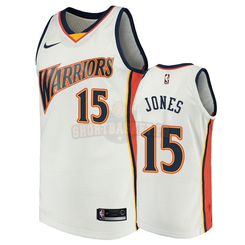 Nouveau Maillot NBA Golden State Warriors NO.15 Damian Jones Blanc Throwback pas cher