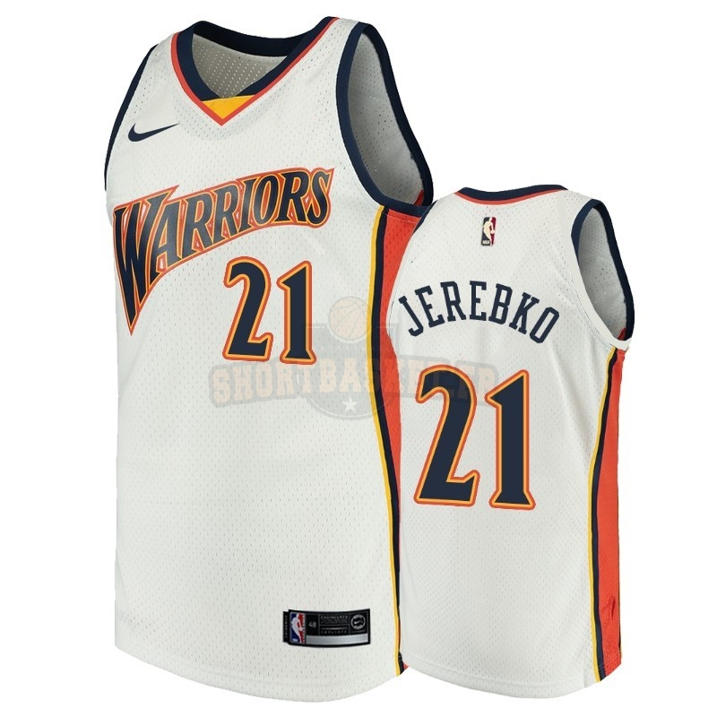 Nouveau Maillot NBA Golden State Warriors NO.21 Jonas Jerebko Blanc Throwback pas cher