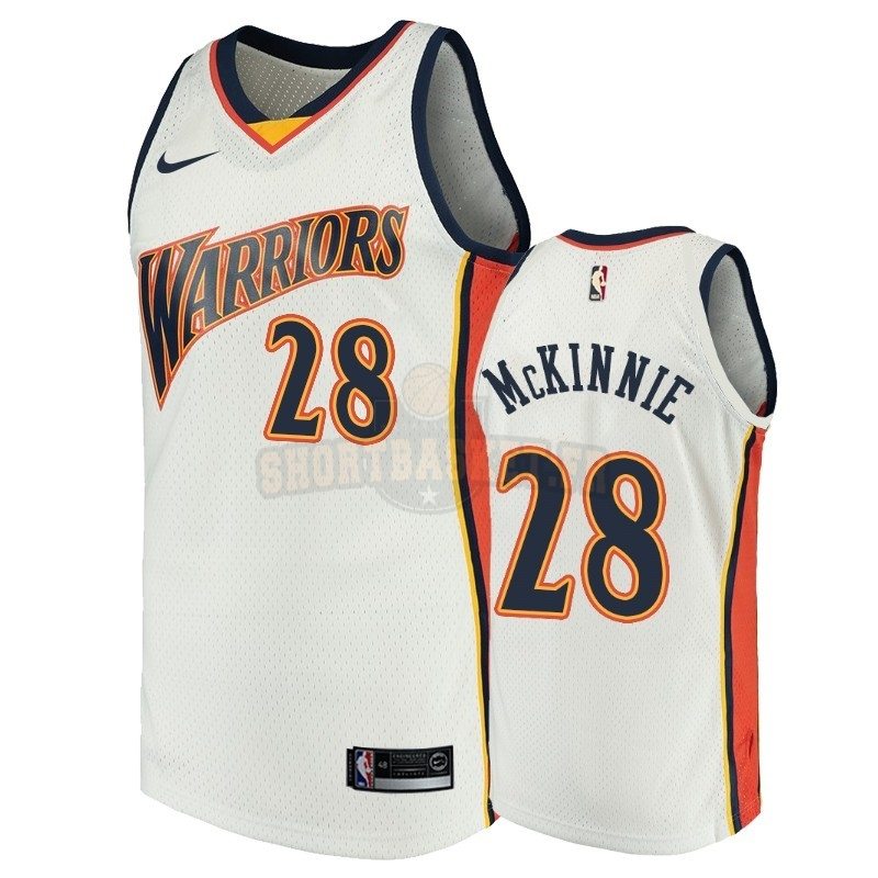 Nouveau Maillot NBA Golden State Warriors NO.28 Alfonzo McKinnie Blanc Throwback pas cher