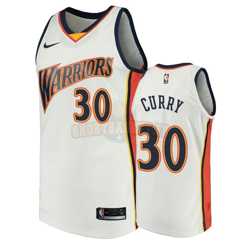 Nouveau Maillot NBA Golden State Warriors NO.30 Stephen Curry Blanc Throwback pas cher