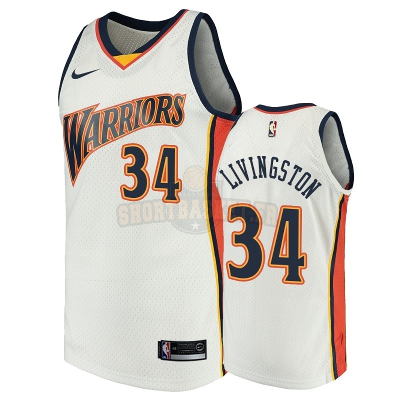 Nouveau Maillot NBA Golden State Warriors NO.34 Shaun Livingston Blanc Throwback pas cher