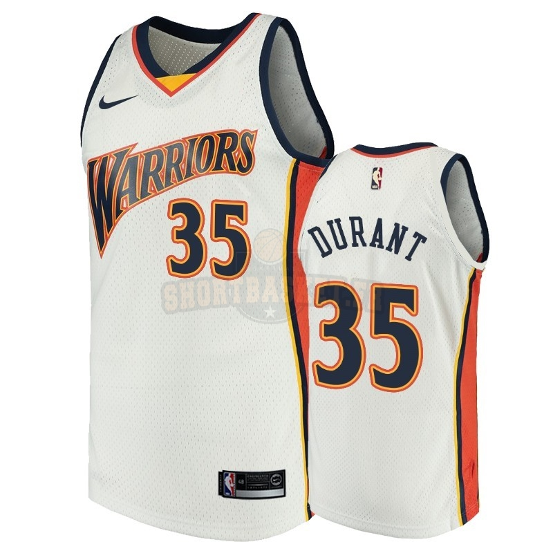 Nouveau Maillot NBA Golden State Warriors NO.35 Kevin Durant Blanc Throwback pas cher
