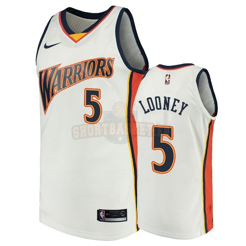 Nouveau Maillot NBA Golden State Warriors NO.5 Kevon Looney Blanc Throwback pas cher