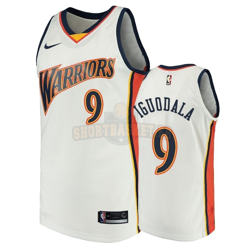 Nouveau Maillot NBA Golden State Warriors NO.9 Andre Iguodala Blanc Throwback pas cher