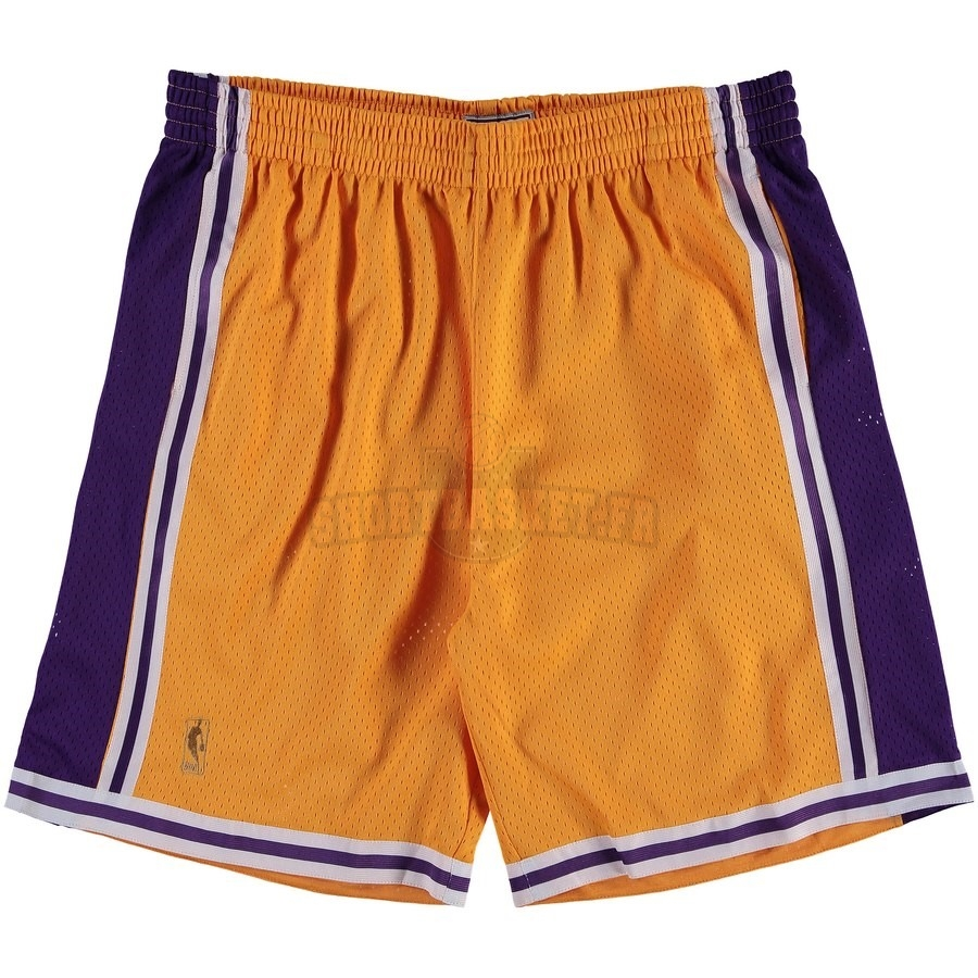 Nouveau Short Basket Los Angeles Lakers Jaune Hardwood Classics pas cher