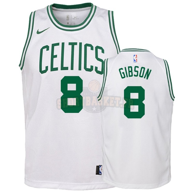 Nouveau Maillot NBA Enfant Boston Celtics NO.8 Jonathan Gibson Blanc Association 2018-19