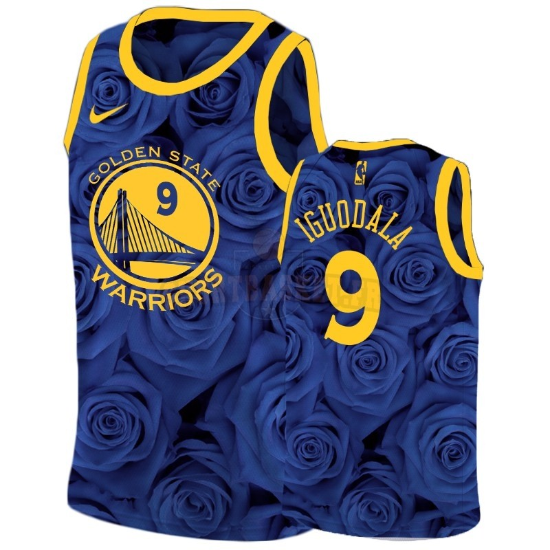 Nouveau Maillot NBA Nike Golden State Warriors NO.9 Andre Iguodala Marine
