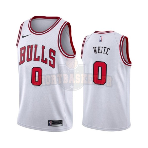 Nouveau Maillot NBA Nike Chicago Bulls NO.0 Coby White Blanc Association 2019-20