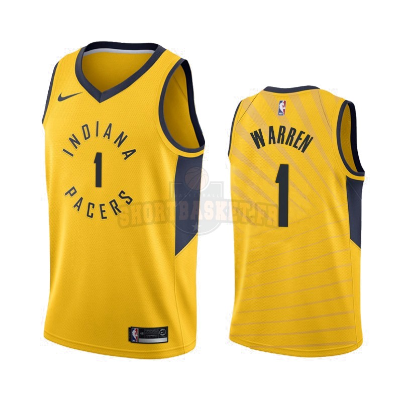 Nouveau Maillot NBA Nike Indiana Pacers NO.1 T.J. Warren Gray Jaune Statement 2019-20