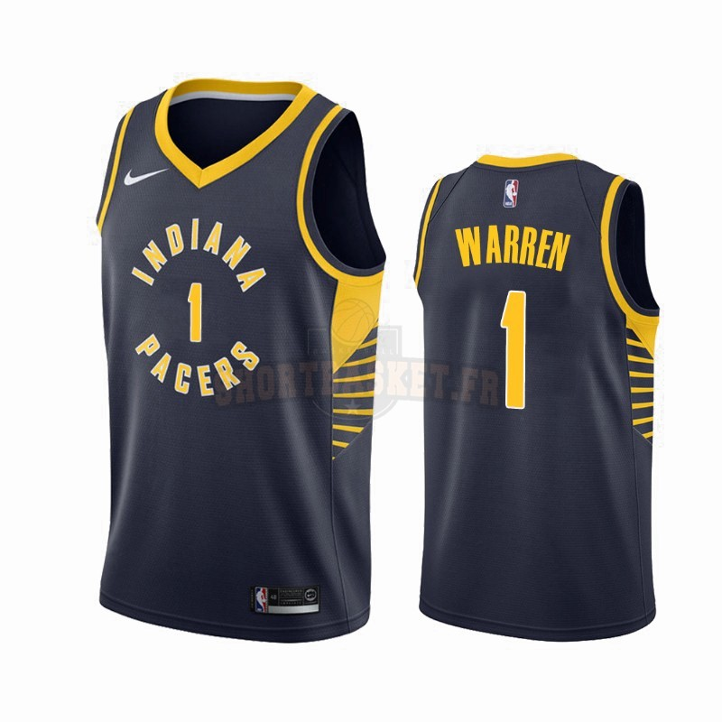 Nouveau Maillot NBA Nike Indiana Pacers NO.1 T.J. Warren Gray Marine Icon 2019-20