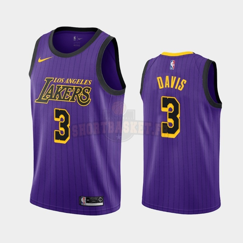 Nouveau Maillot NBA Nike Los Angeles Lakers NO.3 Anthony Davis Pourpre Ville 2019-20