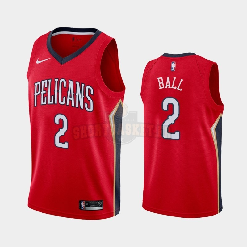 Nouveau Maillot NBA Nike New Orleans Pelicans NO.2 Lonzo Ball Rouge Statement 2019-20