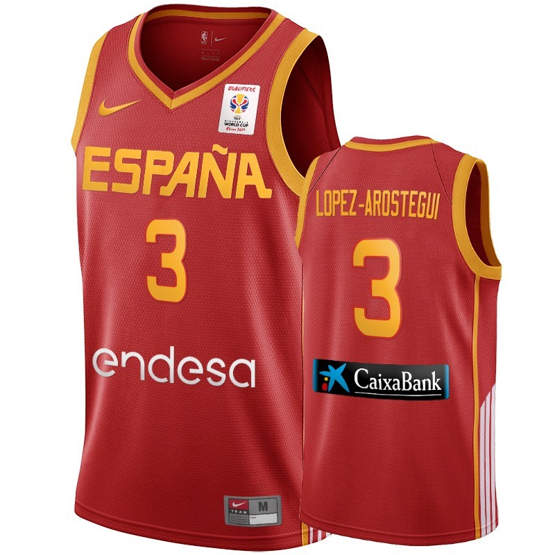 Maillot Coupe Du Monde Basket FIBA 2019 Spain NO.3 Lopez Arostegui Vin rouge